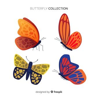 Collection volante de papillons plats