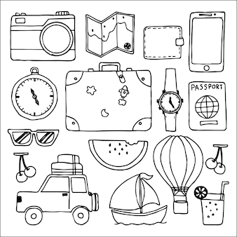 Collection de voyage doodles dessinés à la main icône isolé