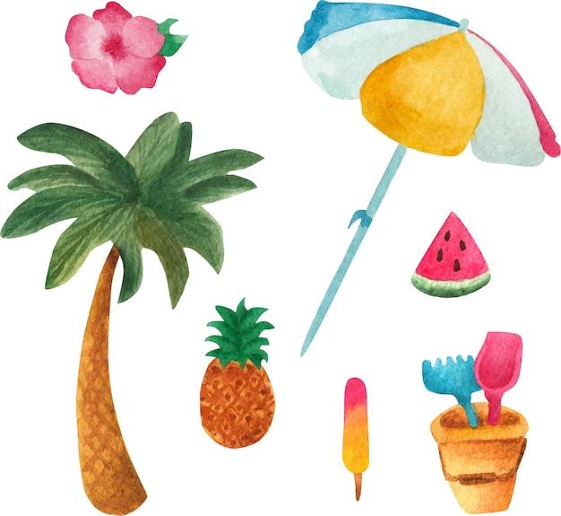 Collection de voyage. ensemble de voyage d'été. ensemble aquarelle