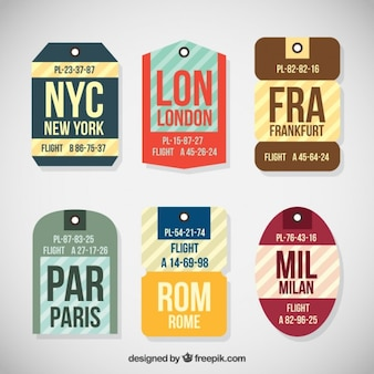 Collection de voyage tag dans différentes formes