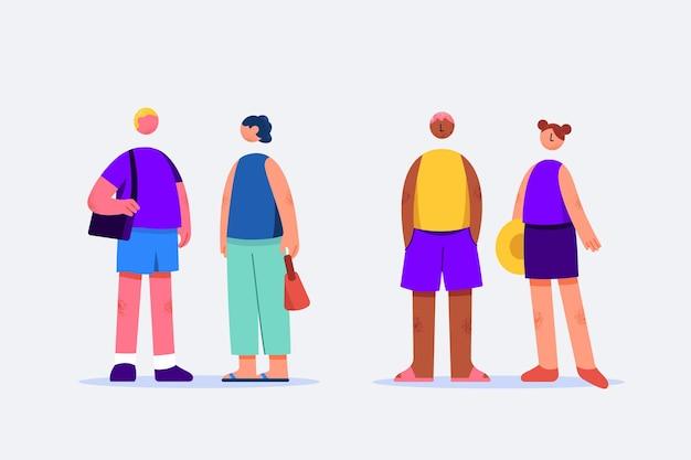Collection de voyageurs au design plat