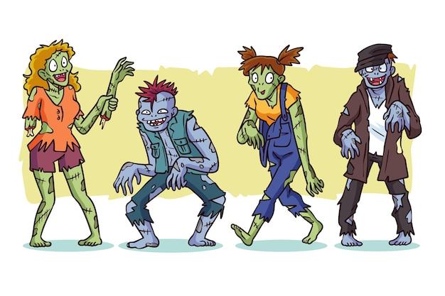 Collection de zombies halloween dessinés à la main