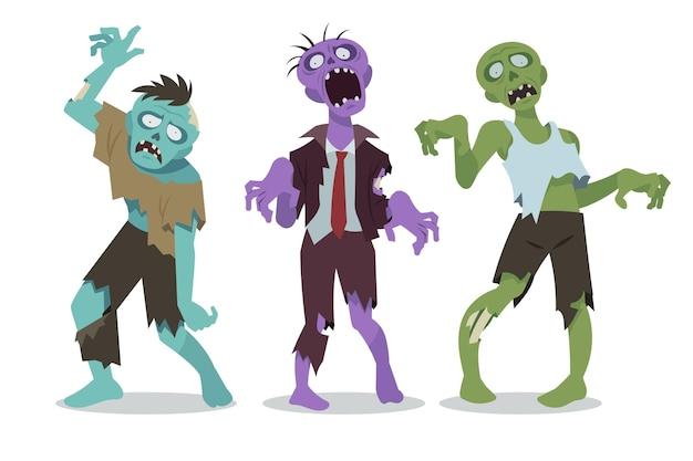 Collection de zombies halloween plats dessinés à la main