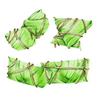Collection de zongzi aquarelle de bateau dragon
