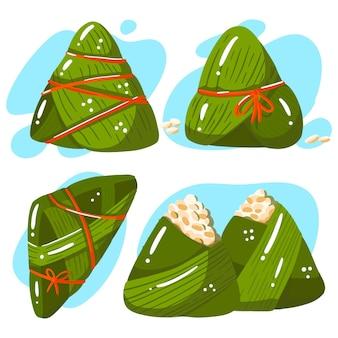 Collection de zongzi bateau dragon dessiné à la main