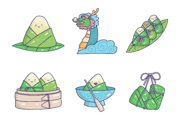 Collection de zongzi de bateaux dragons dessinés à la main