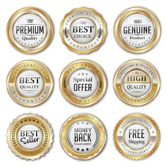 Collections de badges et étiquettes à vendre or et argent
