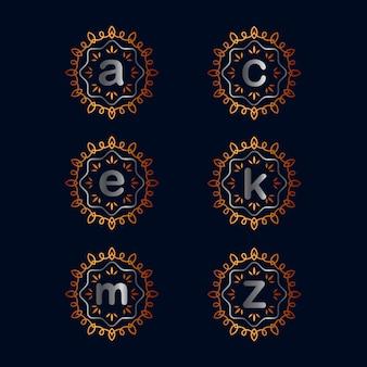 Collections de conception de logo emblème alphabet vintage