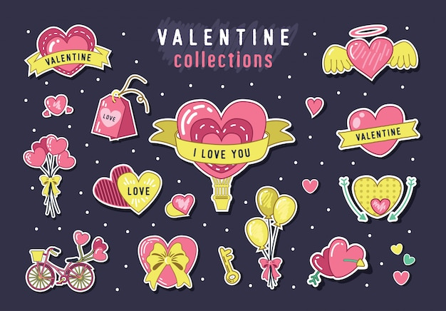 Collections d'éléments vectoriels dessinés à la main pour la saint-valentin
