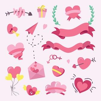 Collections d'éléments vectoriels dessinés à la main pour la saint-valentin