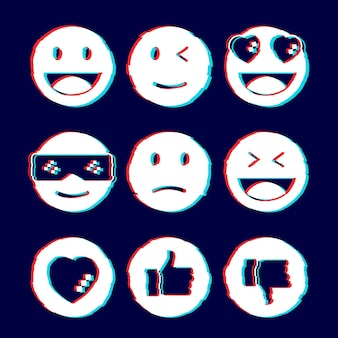 Collections d'emojis glitch