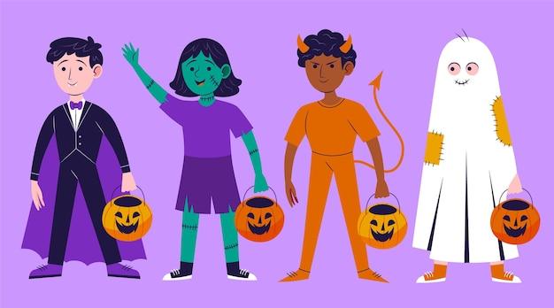 Collections d'enfants halloween plats dessinés à la main