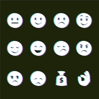 Collections d'icônes emojis glitch