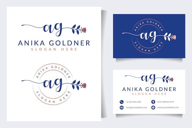 Collections initiales de logo féminin ag avec modèle de carte de visite