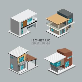 Collections isométriques de la maison moderne.