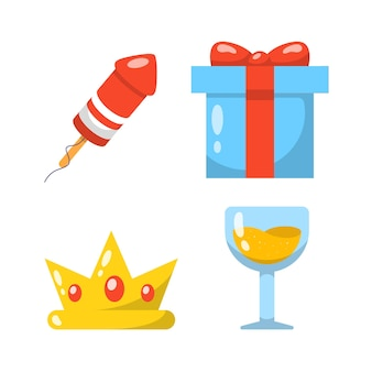 Collections de jeux d'icônes de fête avec pétard et boissons.