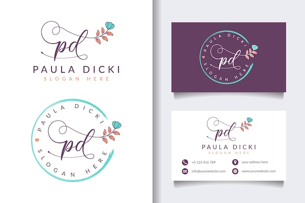 Collections de logo féminin de beauté avec modèle de carte de visite