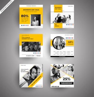 Collections mignonnes de bannières de jour de femmes jaunes pour les médias sociaux