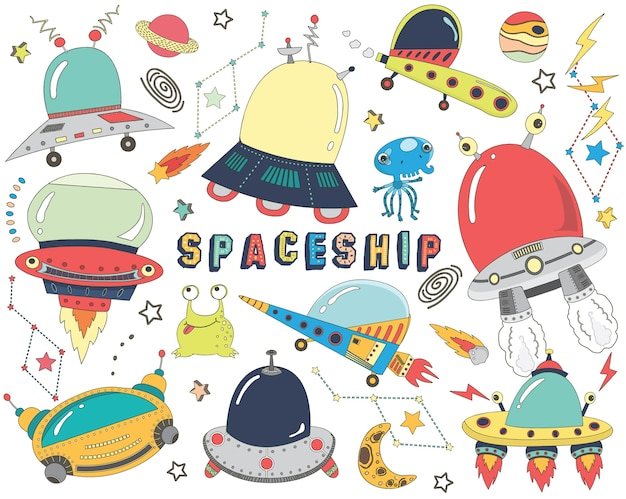 Collections mignonnes de vaisseaux spatiaux doodle