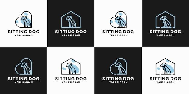 Collections minimalistes création de logo de chien assis