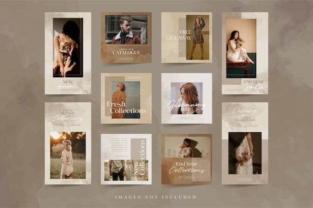 Collections minimalistes de modèles de publications et d'histoires instagram