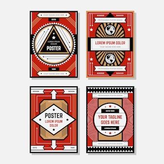 Collections de modèles de conception d'affiche de propagande colorée