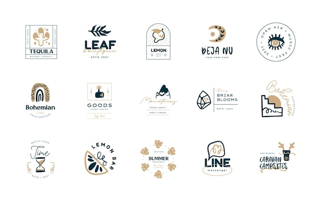 Collections de modèles de conception de logo boho doodle ensemble d'icônes et de symboles bohèmes