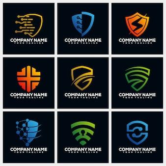 Collections de modèles de conception de logo créatif shield