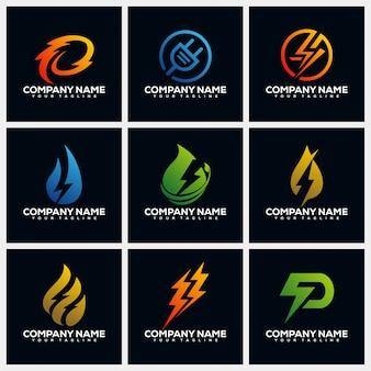 Collections de modèles de conception de logo de création électrique