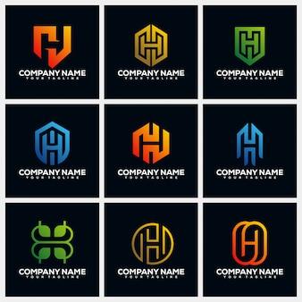Collections de modèles de conception de logo création lettre h