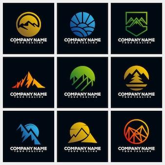 Collections de modèles de conception de logo creative mountain