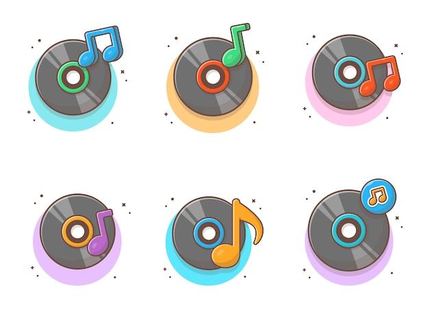 Collections de musique sur disque vinyle. disque vinyle vintage blanc isolé