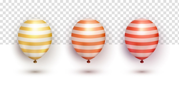 Collections réalistes de ballons élégants en chrome rouge orange doré sur fond transparent