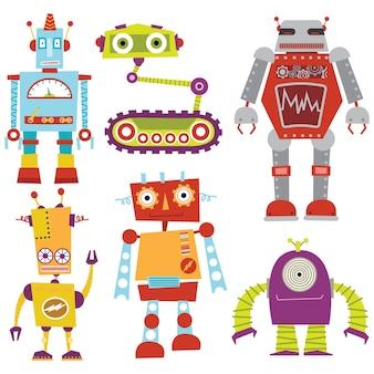 Collections de robots rétro mignons