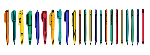 Collections stationnaires. stylos et crayons de couleur sur fond blanc. illustration de contour.