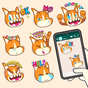 Collections de stickers emoji chat mignons