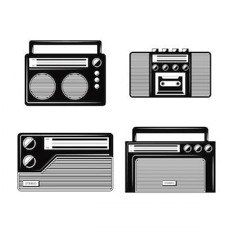 Collections de vecteurs radio noir et blanc