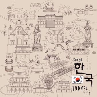 Collections de voyage rétro en corée du sud dans un style de ligne fine - corée en mots coréens en bas à droite