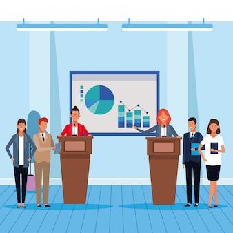 Collègue d'affaires dans une conférence