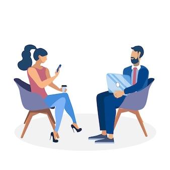Collègue, conversation, plat, illustration