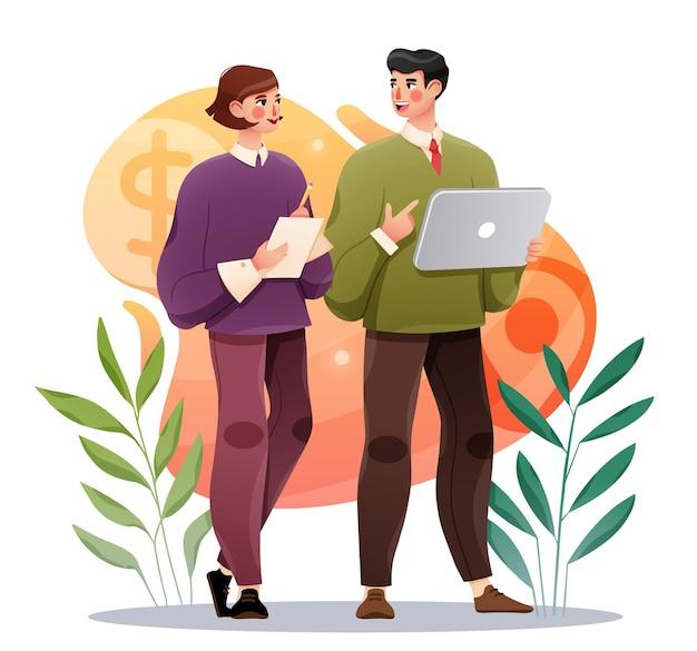 Collègues D'affaires Discutant Du Projet Homme D'affaires Et Femme Avec Tablette Vecteur Premium