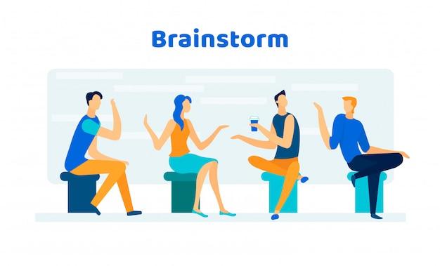 Collègues amicaux, hommes d'affaires brainstorm