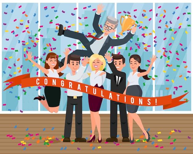 Des collègues de la bande dessinée félicitent le patron pour son succès.