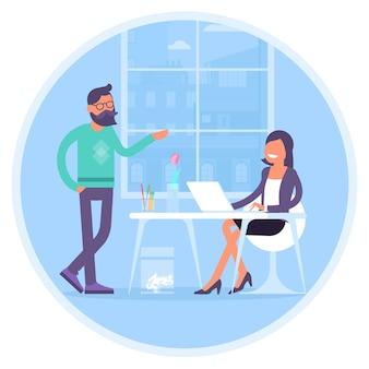 Des collègues communiquent au bureau homme et femme dans un espace ouvert de coworking devant la fenêtre concept de design plat d'espace de travail de bureau communication créative