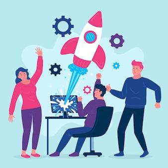 Collègues démarrant un projet d'entreprise