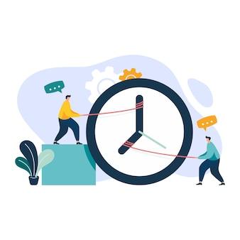 Collègues de travail ajustant les aiguilles de l'horloge