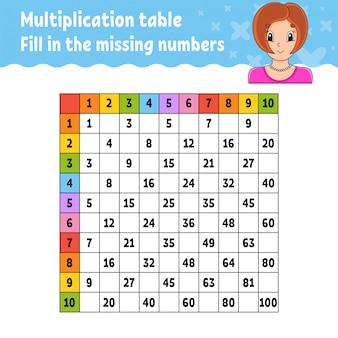 Collez la feuille de calcul des nombres manquants