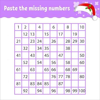 Collez les nombres manquants de 1 à 100. entraînement à l'écriture manuscrite. numéros d'apprentissage pour les enfants.