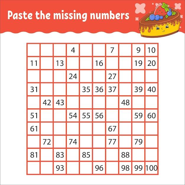 Collez les nombres manquants de 1 à 100