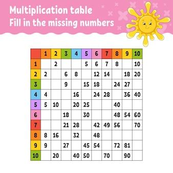 Collez les nombres manquants. apprentissage de la table de multiplication.